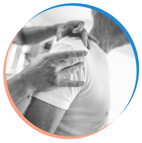 Client having shoulder rubbed during physio