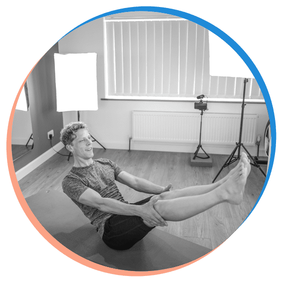 Mike leading one of the Live Online Pilates Classes