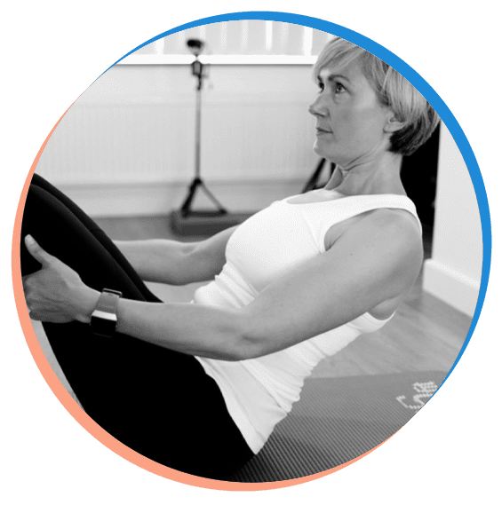 Becky taking part in Pilates Sculpt and Strength class